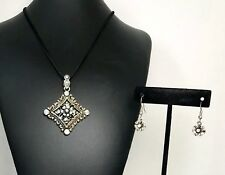 Be Jeweled Brand Silver Black Leather Iridescent Rhinestone Necklace Earring Set