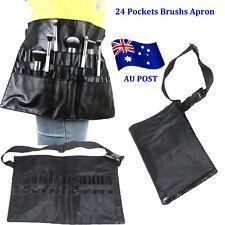 24 Pockets PVC Pro Makeup Cosmetic Brush Apron w/ Artist Belt Strap Bag Black BO