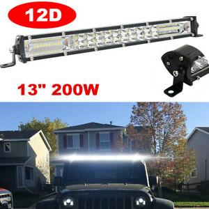 "13"" 200W LED Work Light Bar Spot Flood Combo Driving Light Offroad Waterproof"
