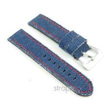 StrapsCo Blue Denim Thick Vintage Style Mens Watch Band Strap w/ Red Stitching