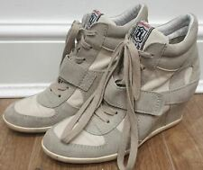 ASH Clay BOWIE Suede & Fabric Hidden Wedge Hi Top Sneakers Trainers EU39 UK6
