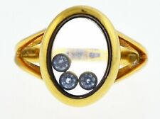 Vintage Chopard 18k Yellow Gold .15 tcw Happy Diamond Oval Ring Size 6.75
