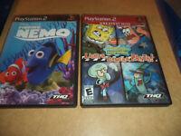 Playstation 2 (Ps2) 2 Game Lot - Finding Nemo + Spongebob Squarepants - Nice!