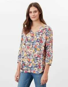 Joules Womens Briella V Neck Long Sleeve Woven Top - Blue