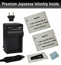 WT-NB4LK1 Battery (2pack) & charger for Canon NB-4L, CB-2LV, PowerShot SD40,