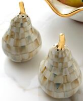 MacKenzie-Childs Parchment Check Pear Salt & Pepper Shakers - Discontinued