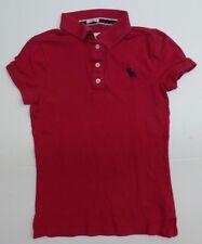 Abercrombie Girls Size Medium Cute Stretch Pink 1/4 Button Polo Shirt