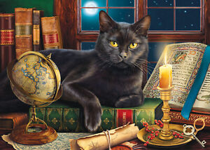 BLACK CAT BY CANDLELIGHT by Image World   SunsOut 500+ LARGER piece puzzle - NEW