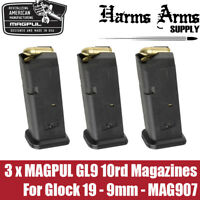 (3 pack) Magpul Glock 10rd GL9 Magazine for Glock 19 9mm Mag G19 G26 MAG907