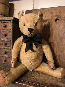 """LARGE & PRIMITIVE OLD 22"""" ANTIQUE CHAD VALLEY JOINTED MOHAIR TEDDY BEAR"""
