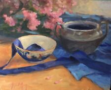 STILL LIFE WITH HYDRANGEAS, silver, blue, violet Original Oil, Aycock 16X20