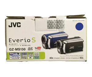 JVC Everio S Memory Camcorder Video Camera Blue Model GZ-MS130 and camera bag