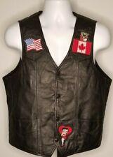 USA Bikers Dream Apparel Mens 42 Black Leather Vest Harley Davidson Patches