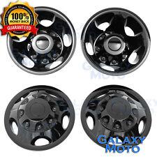 "11-17 Chevy Silverado DUALLY BLACK 17"" Wheel Simulator Liner+Center Caps Cover"