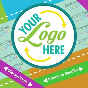 Logo Stickers Custom Personalised Labels Printed Round Glossy Business Address
