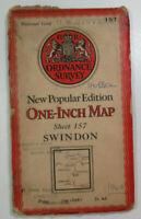 1940 Old Vintage OS Ordnance Survey One-Inch New Popular Edition Map 157 Swindon