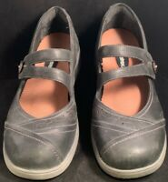 Aravon Black Punched Leather Mary Jane Flat Womens US 9 B Shoes Double Strap EUC