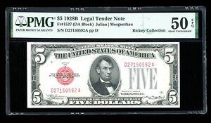 DBR 1928-B $5 Legal Fr. 1527 DA Block PMG AU-50 EPQ Serial D27150592A
