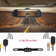 "7"" TFT LCD Car Mirror Monitor + Wireless Rear View Reverse Camera Night Vision"