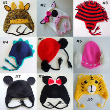 New Crochet Animal Hat Moose,Cow,Mohawk,Dinosaur,Mini Mouse Newborn to Adult