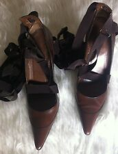 GUCCI BALLERINA STRAPPY GLADIATOR BROWN LEATHER HEELS PUMPS SHOES