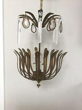 Antique Vintage French Bronze Brass Palm Frond Crystal Chandelier Lantern