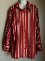MAGGIE BARNER WOMEN SZ 0x 1416 MULTICOLOR LINES LONG SLEEVE BUTTON UP BLOUSE