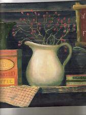 SHELF WITH BOWLS, PLATES, COFFEE CAN, PITCHER COFFEE POT BORDER WL5590B
