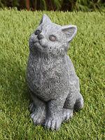Steinfigur Katze sitzend Schiefergrau, Stein Garten Deko Gartenfigur