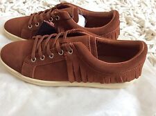 Zara Women fringed Leather Plimsole Shoes Size Uk 4 EUR 37 BNWT!