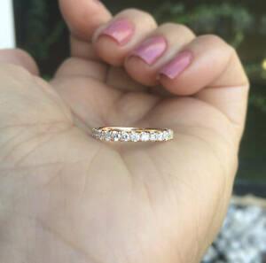 2Ct Round Cut VVS1 Diamond Full Eternity Wedding Band Ring 14K Rose Gold Finish