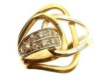 Anello Donna Oro Giallo Bianco 18 Kt Carati Ct 750 6,30 Gr Zirconi