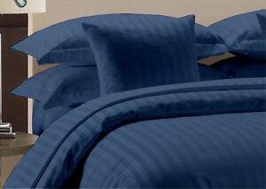 Duvet Set + Fitted Sheet Navy Blue Stripe All Sizes 1000 TC Egyptian Cotton