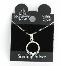 "NEW Disney 18"" Necklace & Pendant 925 Sterling Silver Blue Crystal Mickey Mouse"