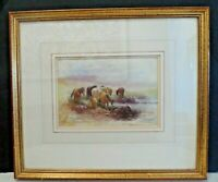 "Original Signed Watercolour "" Dartmoor Ponies"" by Tomas (Tom) Rowden (1842-1926)"