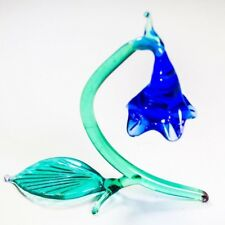Original Blown Glass Figurine Handmade Flower Bluebottle. Home decor. VIDEO