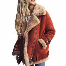 Women Winter Loose Trench Coat Warm Long Jacket Parka Motor Belt Buckle Overcoat
