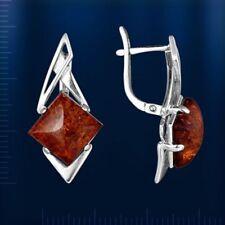 Russische Silber 925° Ohrringe mit quadratischem 15x15 mm Bernstein Neu Glänzend