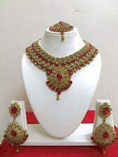 Indisch Hochzeit Modeschmuck Vergoldet Bollywood Halskette Ohrring Schmuck Set