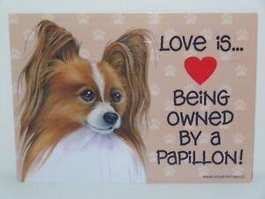 Love Is Being Owned By A Papillon Dog 5x7 Hang Anywhere Sign w/ Magnet
