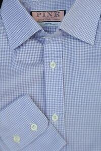 Thomas Pink Men's Lavender White Check Cotton Dress Shirt 15 x 33