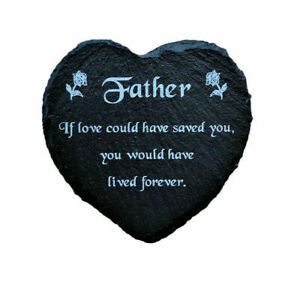 Engraved Slate Heart Grave Marker Fathers Day Memorial Plaque Dad