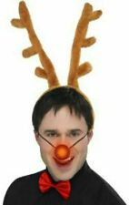 Reindeer Set, Antlers, Nose & Red Bow Tie Christmas Party Fancy Dress Stag Horns