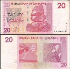 ZIMBABWE 20 Dollars, 2007, P-68, World Currency, 100 Trillion Series