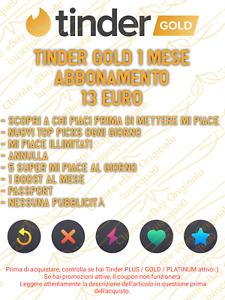 Tinder Gold - Voucher 1 Mese/Month Tinder Gold