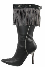 Western Women Winter Boot Toppers Gray Fabric Cover Long Fringe Knee High Flower