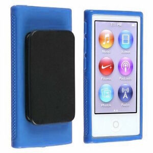 Blue TPU Rubber Case Cover with Belt Clip for Apple iPod Nano 7th Gen 7 7G NEW