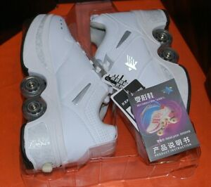 New Retractable (deformation) Roller Skate Shoes White Women's 41/260mm