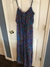 Mimi Chica Women's Medium Blue Colorful Patterned Sheer Maxi Dress