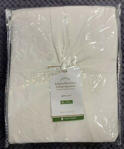 Pottery Barn White Belgian Flax Linen Box Spring Cover, Queen, Free Shipping